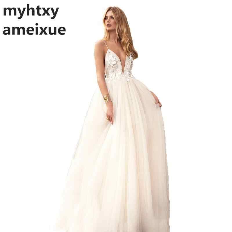 Baratos Praia Vestido de Casamento Backless 2018 Vestido De Noiva Princesa Vestido de Noiva Sexy Tulle A Linha de Vestidos de Casamento Spaghetti Strap