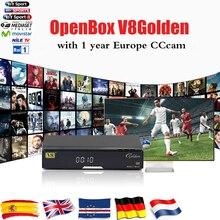 Openbox V8 Золотой DVB-S2 и DVB-T2 DVB-C Спутниковый Ресивер с 1 года европа CCcam 4 Клайн USB WI-FI Бесплатная Доставка Декодер TV Box