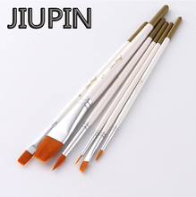 JIUPIN6Pcs/Set Watercolor Gouache Paint Brushes Different Shape Round Pointed Tip Nylon Hair Painting Brush Set Art Supplies