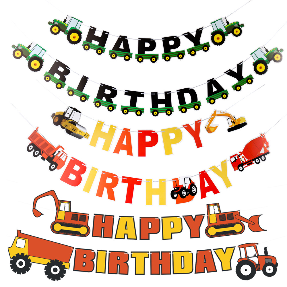 Farm-Theme-Felt-Happy-Birthday-Banner-Tractor-Cup-Cake-Topper-Construction-Vehicle-Birthday-Party-Decoration-Kids