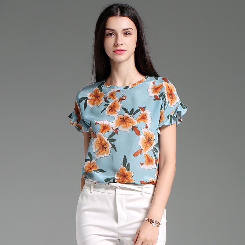 Xxl Patrón De Dama Elegante Gloria Oficina Floral Diseño Grace Superior amp; Seda Azul Blusa Flores Camisa Original Estampado Verano 2019 zpZHwq44