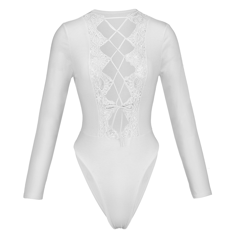 femme long sleeve bodysuit jumpsuit romper Fitness skinny bodysuit lace up hollow party club Casual white bodysuit hot sale