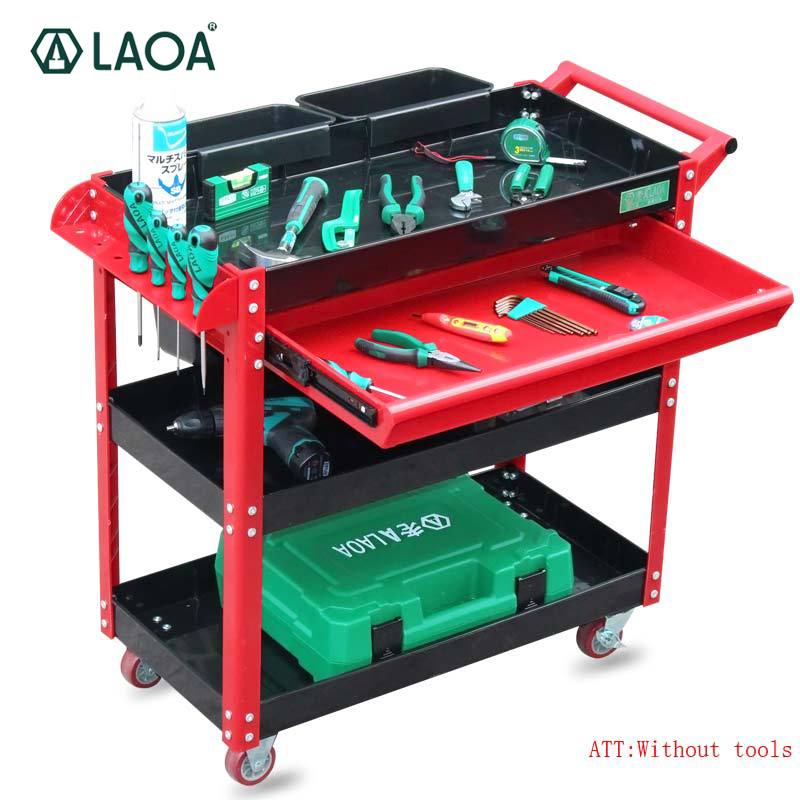 LAOA Tool Trolley Repair Cart 4 Layers With Wheels One Drawer Workshop Garage Metal Tool Cabinet Without Tools