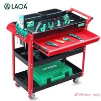 Laoa ferramenta carrinho de reparo do trole 4 camadas com rodas uma gaveta oficina garagem metal ferramenta gabinete sem ferramentas|Armários p/ ferramenta| |  -