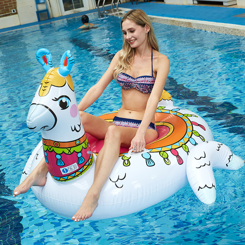 150cm Giant Alpaca Inflatable Pool Float Unicorn Ride-On Air Mattress Swimming Ring Adult Children Water Party Toys Boia Piscina