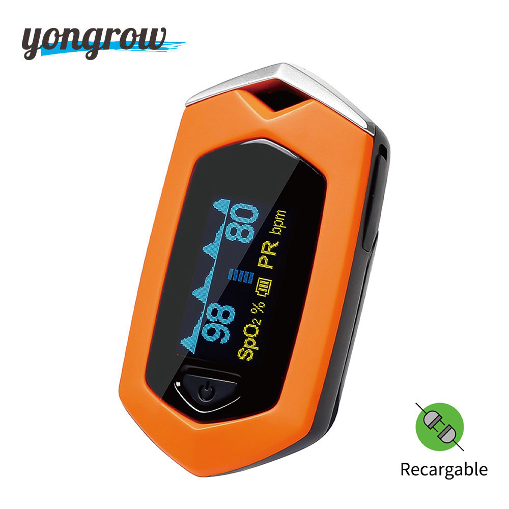 Yongrow Medical Sport Finger Pulse Oximeter Blood Oxygen Saturation sport movement Pulse Oximeter Rechargeable SPO2 Pulse rate pro f4 finger pulse oximeter heart beat at 1 min saturation monitor pulse heart rate blood oxygen spo2 ce approval green