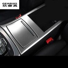 Стайлинга автомобилей лучшую протектор Нержавеющаясталь углеродного волокна крышки подстаканник подлокотник коробка украшения для Audi A6 C7 A7 Интимные аксессуары