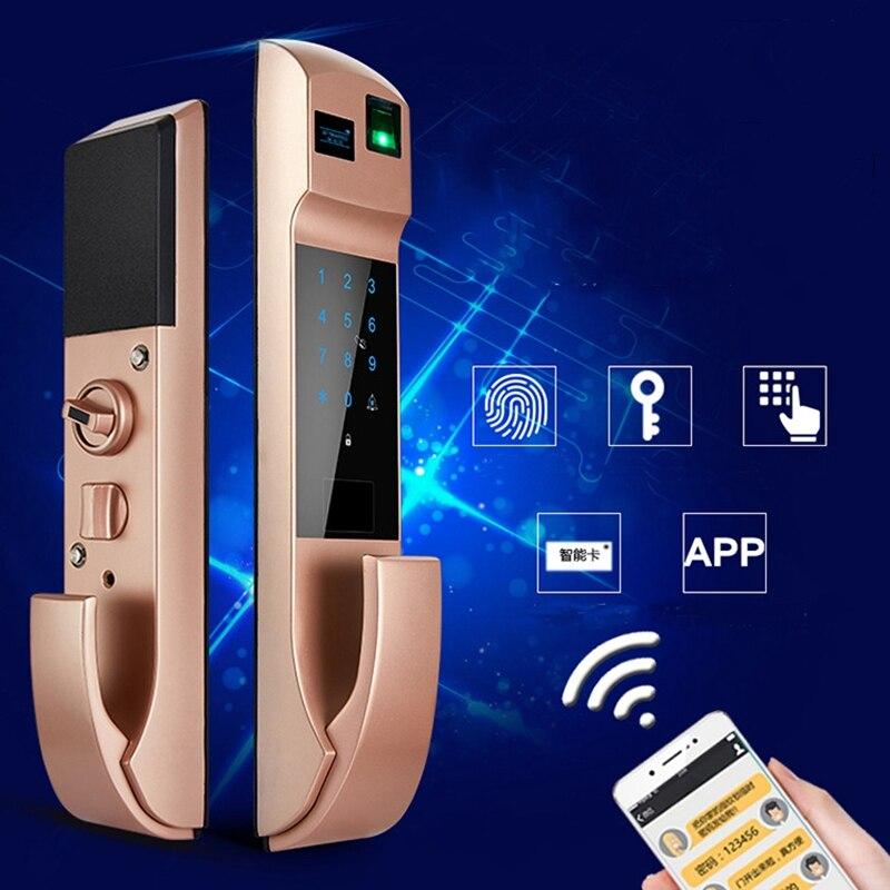 Fechamento Da Impressão Digital Senha de Bloqueio automático Inteligente Fechadura Da Porta Anti-roubo Em Casa Eletrônico Cartão Desbloqueado Automaticamente Mudo APP Bloqueio