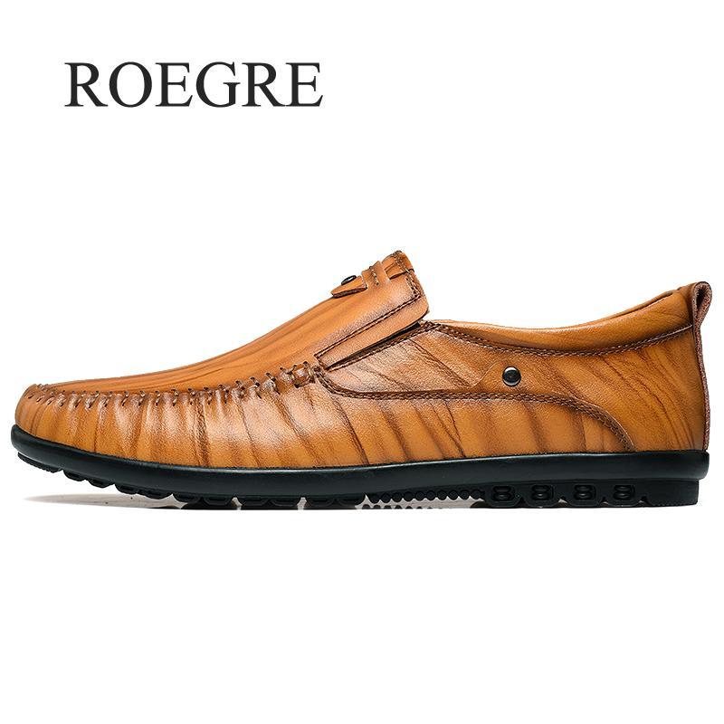 Cuir Glissement Marque Mocassins En Hommes Casual Designer Appartements Sur dark Brown De Roegre Nouveau light Les Noir Male 2018 Luxe Chaussures Brown Mode YwZxnqFgP