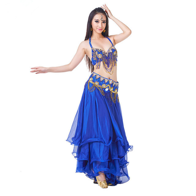 Performance Women Dancewear Professional Size S-L 3pcs Costume Outfit Bra Belt Skirt Long Oriental Beads Costume Belly Dance