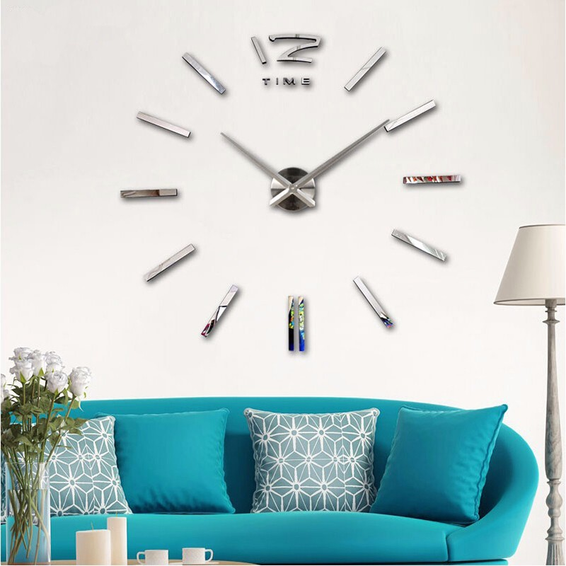 3D Large Acrylic Wall Clock Europe Simple Decorative Mirror Wall Clock Mirror Gold Sliver Self-adhesive Wall Sticker