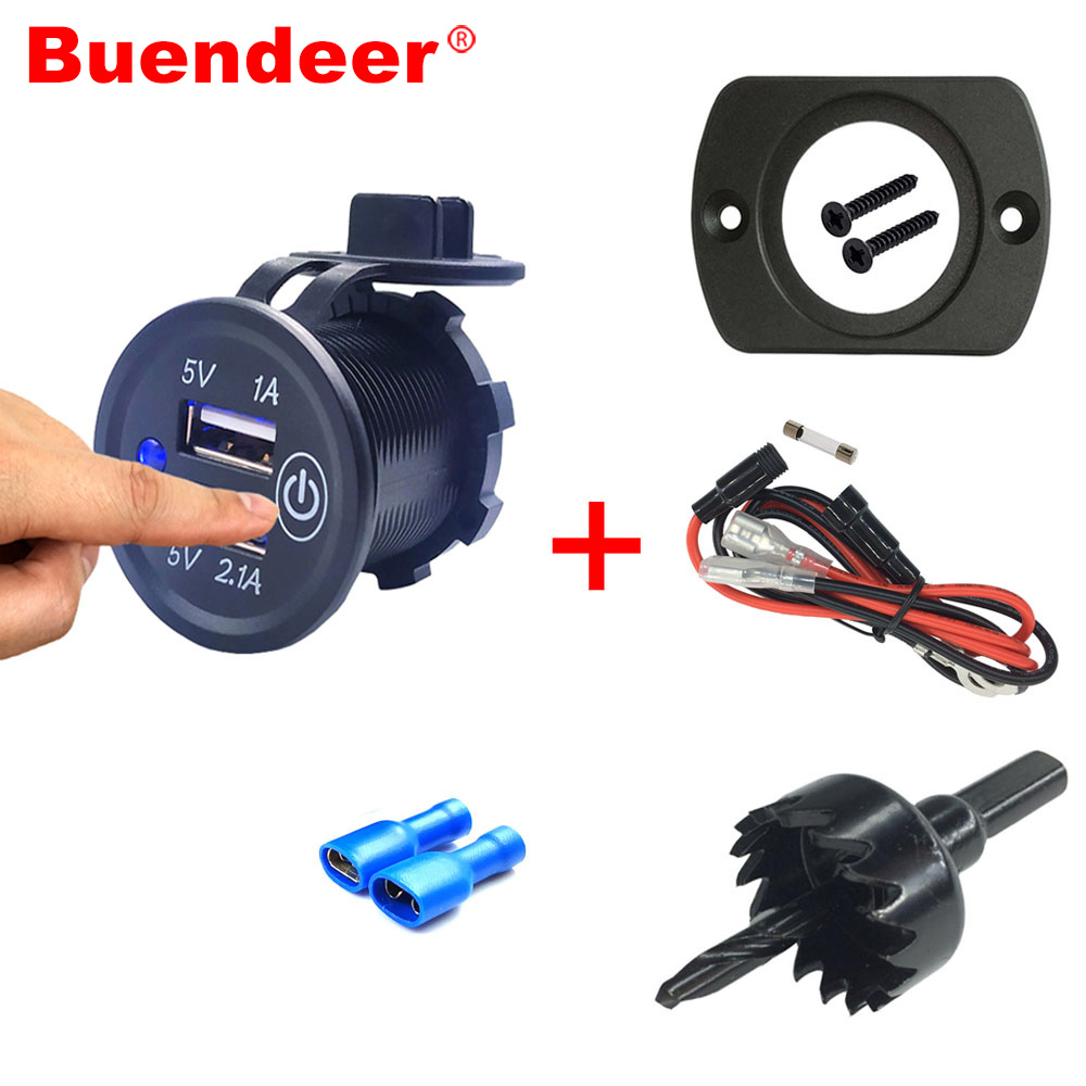 Buendeer Power-Outlet Socket Boat Dual-Usb-Charger Motorcycle Touch-Switch 12V-24V