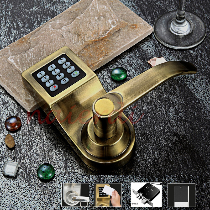 NED Bronze Hot Sale Electronic Induction Smart Digit Code Keypad Entry Door Lock With ID Reader Right Handle  And Card Unlock hamlet ned r