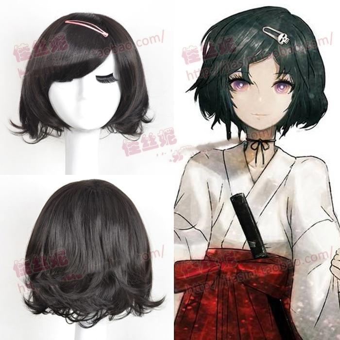 Persevering Anime Steins Gate Ruka Urushibara Cosplay Wig Black Short Curly Halloween Synthetic Hair Home wig Cap
