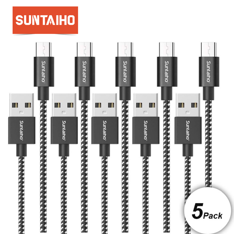 5pcs Pack Suntaiho USB Type C Cable for Samsung S9 S8 Plus Note 8 9 1m/2m USB C Cable 3.1 lighting for Xiaomi mi9  Huawei P20