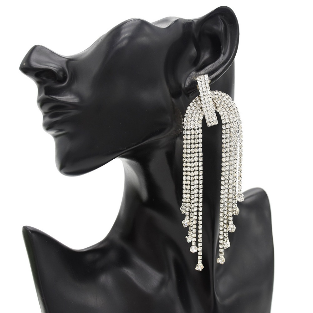 Detail Feedback Questions about Exaggerated 2 Colors Luxurious Crystal Long  Tassel Drop Earrings Rhinestone Earrings Women Bride Wedding Engagement Ear  ... b169c6bd69d4
