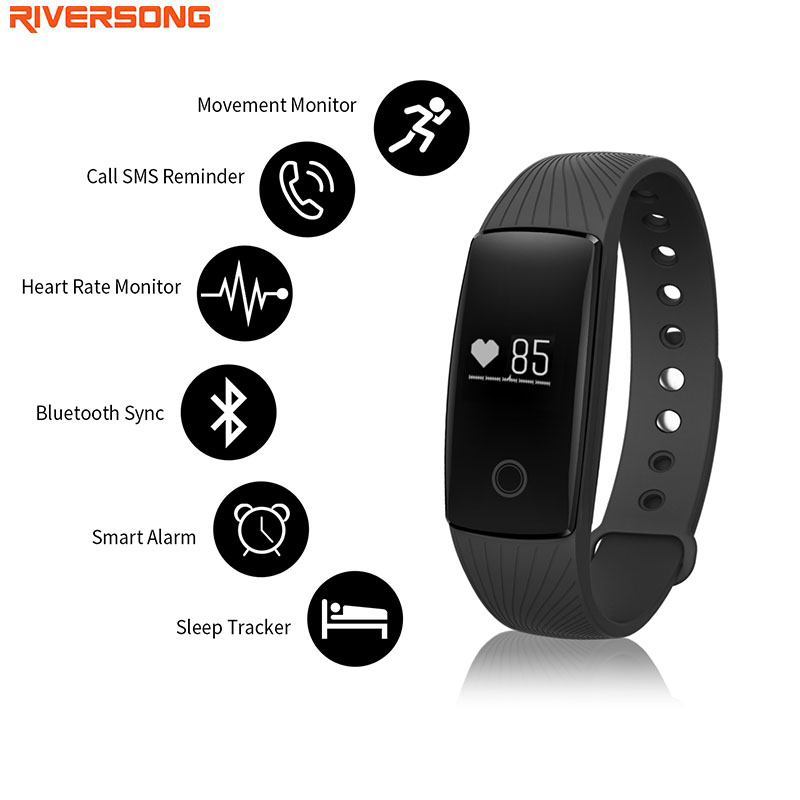 Smart Band Fitness Tracker Heart Rate Monitors Smart Wristband Sleep Monitors Pedometer RIVERSONG WAVE HR for