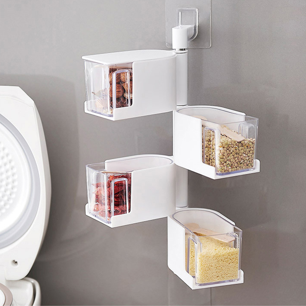Seasoning Box Kitchen Spice Storage Bottle Jars Transparent PP Salt Pepper Cumin Powder  ...