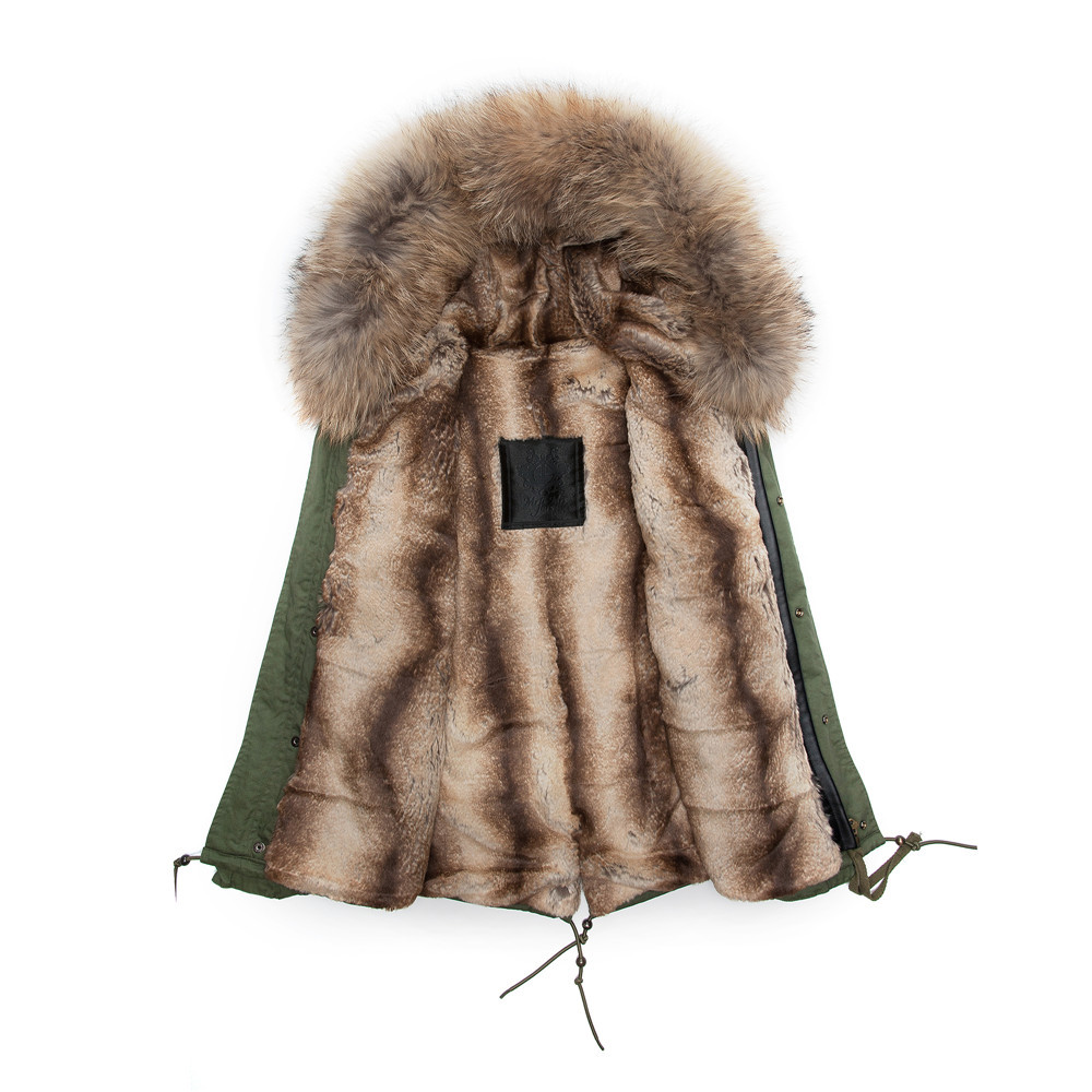 mr or mrs furs parka coats for women or men, with beige faux fur ...