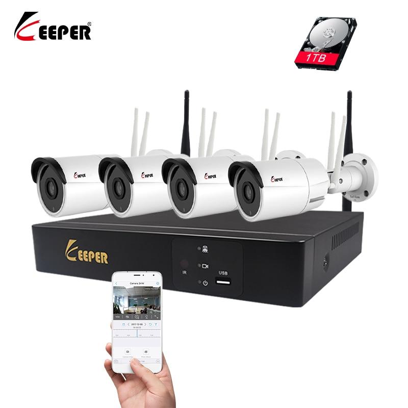 Keeper 4CH WiFi NVR KIT Wireless CCTV System 1080P 2MP Sony IMX323 Video IP Cameras Doub ...