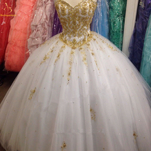 Bealegantom New 2019 Gold Lace Quinceanera Dresses Ball Gown Crystals Up Vestido De Debutante Sweet 16 Party Dress QA1467