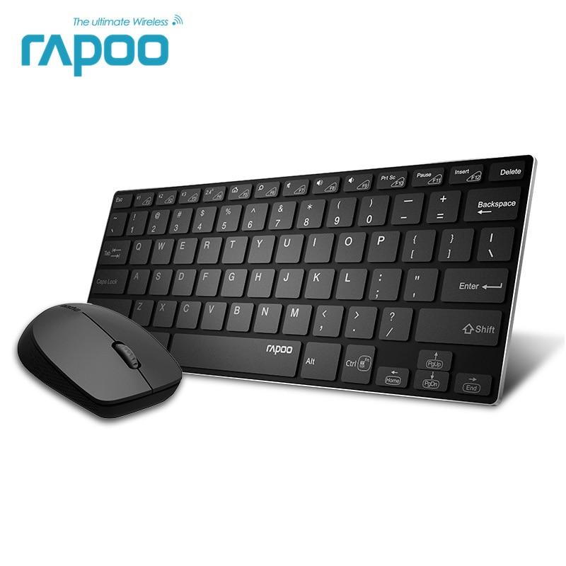Rapoo 9000 M multi mode Stille Draadloze Toetsenbord Muis Combo Schakelaar Bluetooth 3.0/4.0 en 2.4G up om 3 Apparaten voor PC/Mac/Telefoon-in Toetsenbord-/muissets van Computer & Kantoor op AliExpress - 11.11_Dubbel 11Vrijgezellendag 1