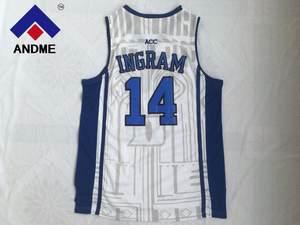 68ef049f Brandon Ingram White/Blue Black Embroidery Stitched College Basketball  Jersey