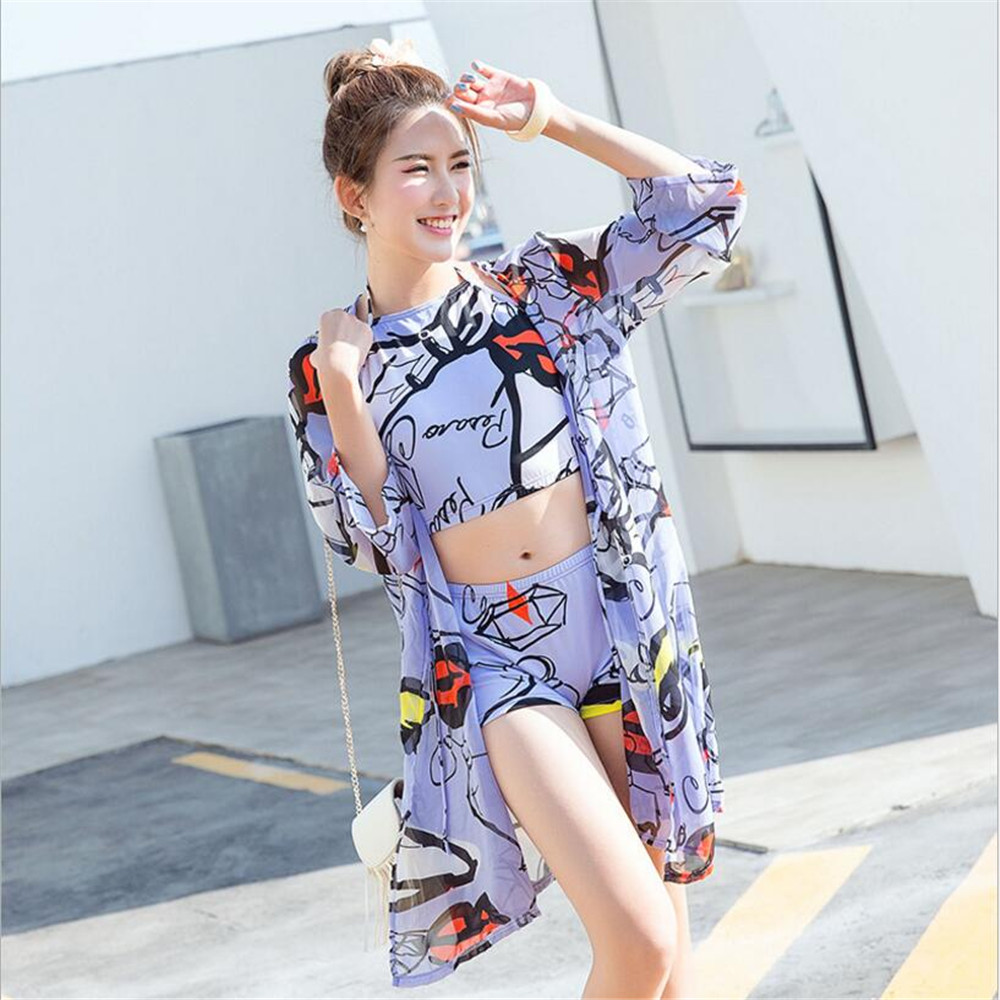 2018 Girls Lovely Summer Swimsutis Sexy Seaside Holiday Three Piece Swimwear with Bikni Cover Up Sunscreen Bath Swimming Suits