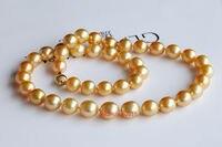 ААААА 18 10 11 мм круглой Южное море желтый золотой жемчужное ожерелье> украшения Бесплатная доставка