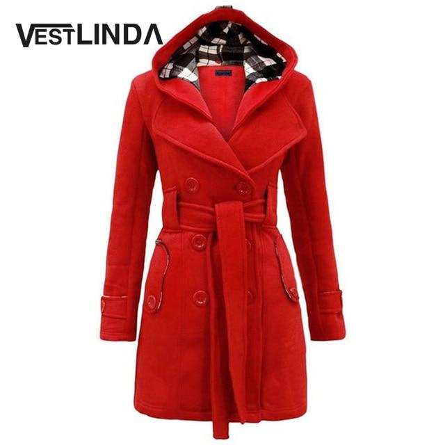 VESTLINDA Модные Капюшоном Trentch Пальто Женщины Классический Талии Пальто С Длинным Рукавом Мода 2017 Весна Куртка Пальто Карман Плюс Размер
