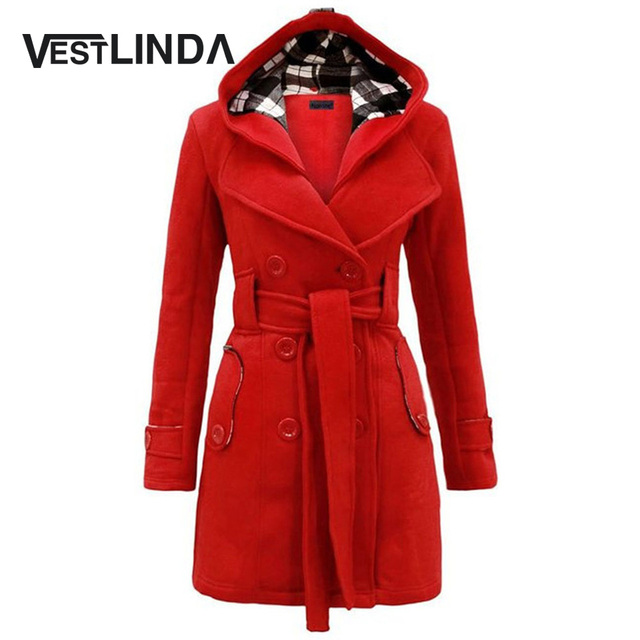 VESTLINDA Trendy Hooded Trentch Overcoat Women Classic Waist Coat Long Sleeve Fashion 2017 Spring Jacket Coat Pocket Plus Size