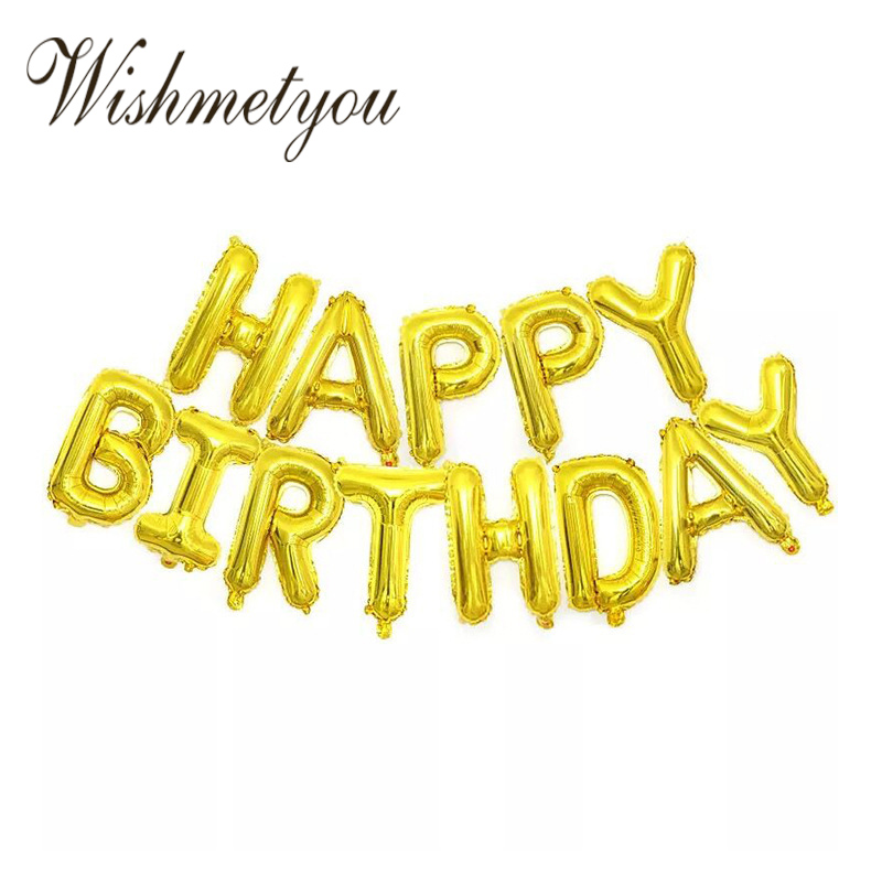 WISHMETYOU 16 Inch Letter Happy Birthday Inflatable Balloon Baby Shower Wedding Festival Party Childrens Toys Balloons Ball DIY