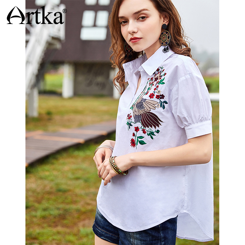 ARTKA 2018 Summer New Women 100% Cotton Embroidery Turn-down Collar All-match Casual Short Sleeve   Blouse     Shirt   SA11080X