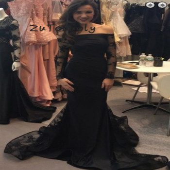 Graceful Black Mermaid Off The Shoulder Prom Dresses With Long Sleeves Elegant Dubai Sweep Train Lace Evening Dress 2019 Cheap
