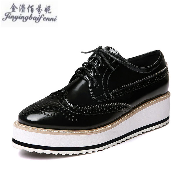 4debb852dbf Women Platform Oxfords Brogue Flats Shoes Patent Leather Lace Up Brand  Beige Black Silver Creepers Popular Ladies Shoes