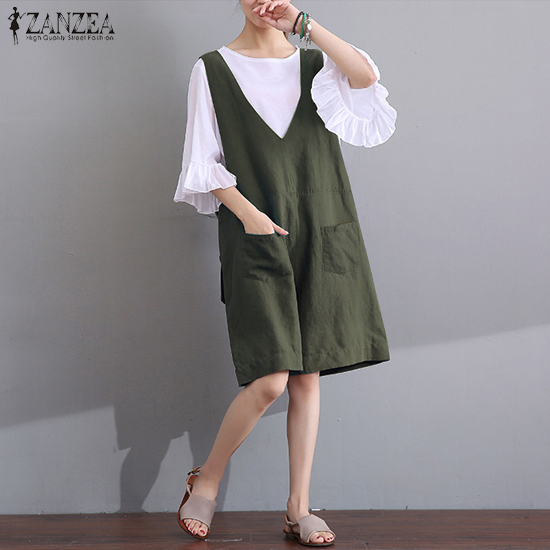2018 ZANZEA Summer Women Jumpsuits Sleeveless V Neck Loose Casual Pockets Overalls Rompers Short Bodysuit Playsuit Plus Size 5XL