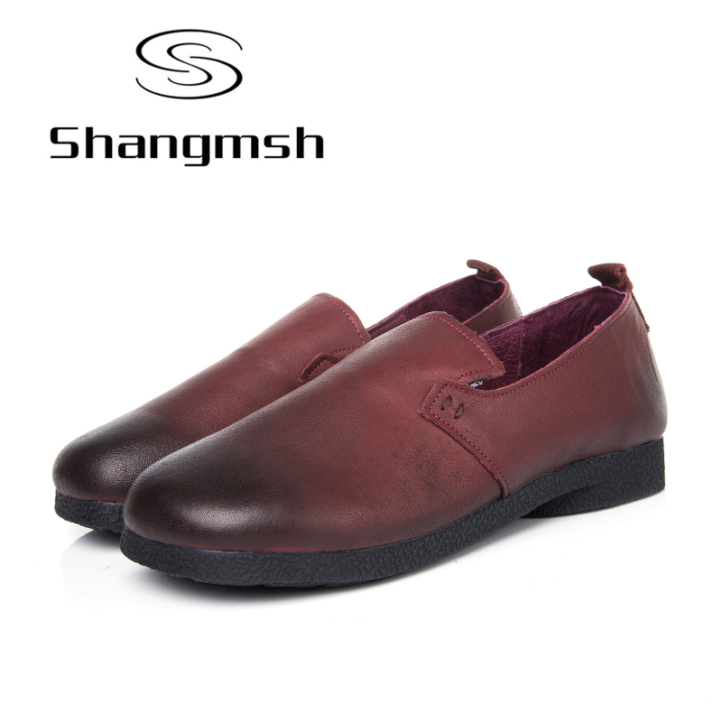 Shangmsh Moccasins For Women 2017 Autumn Genuine Leather Cow Muscle Women's Shoes Solid Slip On Casual Loafers Female Footwear women s platform flats loafers genuine leather slip on brogues shoes for women female footwear brand designer moccasins calzados