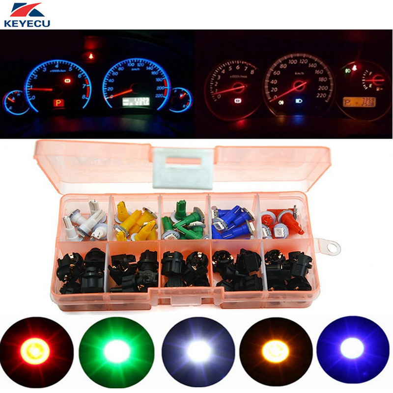 KEYECU 30Pcs/Set 12V PC74 T5 5050 LED Car Motorcycle Instrument Panel Cluster Gauge Dash Light Speedometer Lamp Mix Bulbs