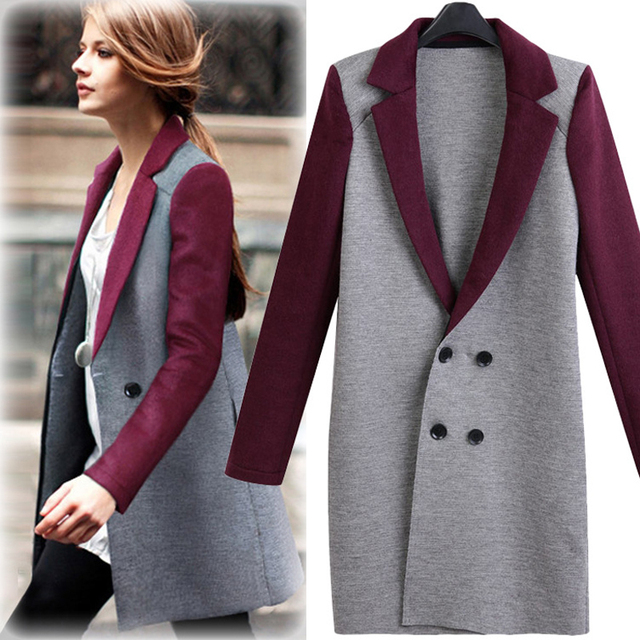 51f162e753 2016 Autumn Winter Fashion Women Sweaters Coat Thick Patchwork Long-Sleeve  Female Double Breasted Long
