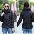 Nova Mulher 2017 Algodão Mulheres Jaqueta de Inverno Jaqueta Casaco Curto Da Moda meninas Acolchoado Fino Plus Size Com Capuz Parka Mulheres Jaqueta de Inverno casaco