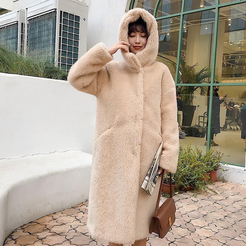 Imitation Faux À Hiver Laine Manteaux Fourrure Fausse Longue 2018 Femmes Agneaux La En Taille Chaud Plus Manteau Pink Capuche apricot Lâche B436 Épais CxFFYqw5