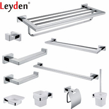 Leyden I304 Stainless Steel Bathroom Accessories Set Chrome Towel Shelf Towel Bar Clothes Wall Hook For Bath Hardware Sets leyden high quality glass square shelf stainless steel wall mount orb brushed nickel chrome with glass single tier bath shelf