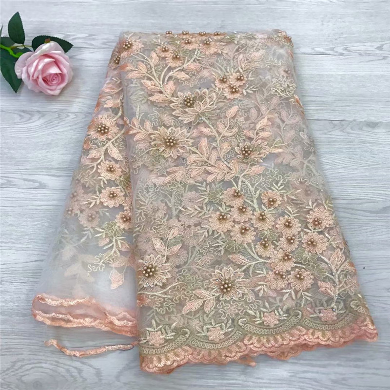 African Lace Fabric 2018 High Quality Nigerian Lace Fabric With Beaded Embroidery Tulle French Lace Women Apricot HJ1186-1African Lace Fabric 2018 High Quality Nigerian Lace Fabric With Beaded Embroidery Tulle French Lace Women Apricot HJ1186-1
