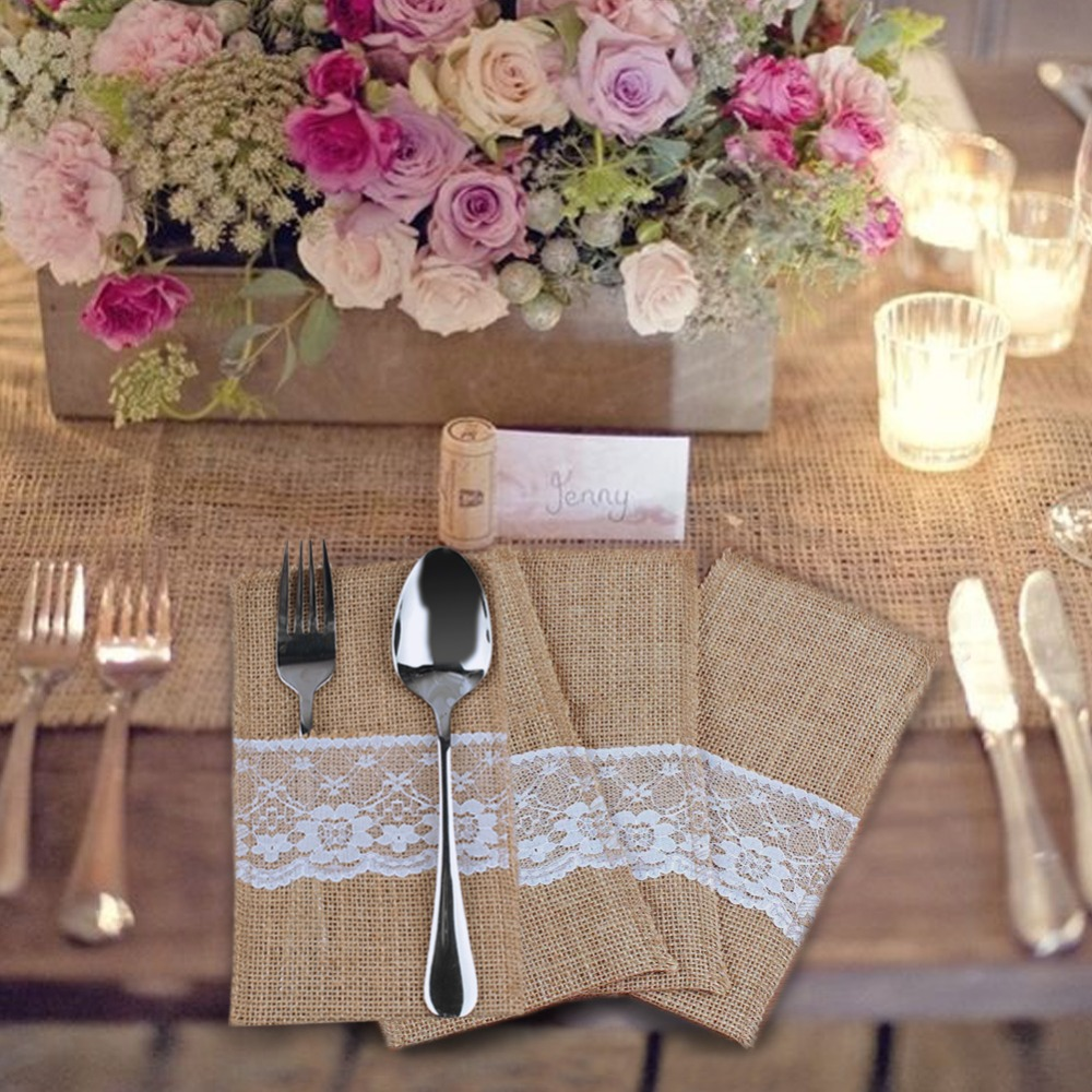 OurWarm 10pcs Rustic Wedding Lace Fork Knife Pocket Guest Jute Pouch Tableware Boho Wedding Party Decoration For Home 4