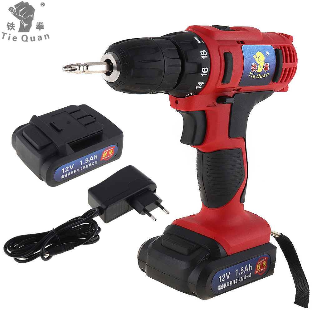 Cordless 12V Electric Drill Screwdriver Two speed Screw Driver Power Tools with 18 Gear Torque for Handling Screws Drilling
