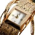 2017 Exquisito de Lujo de Las Señoras Relojes Reloj de Las Mujeres Elegantes de la Aleación de Oro Reloj de Pulsera Mujer Dial Square Reloj de Pulsera Relojes