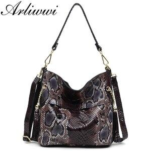 Image 1 - Модные женские сумки через плечо из 100% натуральной кожи, дизайнерские блестящие тисненые женские сумки тоуты из натуральной замши и воловьей кожи GL03