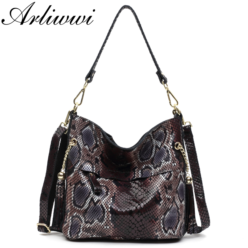 Arliwwi Sexy Boa Pattern Embossed 100% Real Leather Lady Crossbody Handbags Designer Tassels Women Genuine Cowhide Totes Bag New