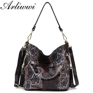 Image 1 - Fashion 100% Real Leather Lady Shoulder Bags Designer Shiny Boa Pattern Embossed Women Genuine Suede Cowhide Totes GL03