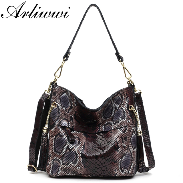 Fashion 100% Real Leather Lady Shoulder Bags Designer Shiny Boa Pattern Embossed Women Genuine Suede Cowhide Totes GL03